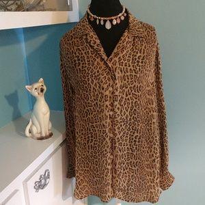 Ralph Lauren Silk Leopard Print Blouse 16